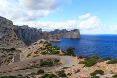 Cap de Formentor cliff coast, Mediterranean Sea and narrow curvy road, Majorca Royalty Free Stock Image