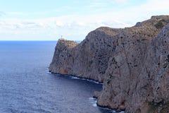 Cap de Formentor Lighthouse and cliff coast with Mediterranean Sea, Majorca Royalty Free Stock Photos
