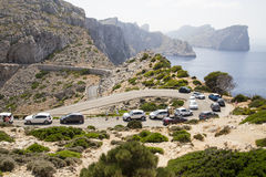 CAP DE FORMENTOR, MALLORCA - 29 JULY 2015. Lots of cars and queu. Busy season in majorca with cars queuing up the mountain royalty free stock photos
