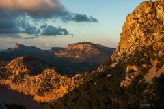 Cap de Formentor at sunset sky nature Landscape in northen Mallorca balearic islands, Spain. Cap de Formentor at sunset sky nature Landscape in northen Mallorca Stock Photography