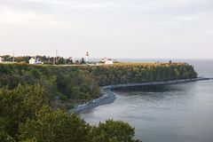 Cap-de-la-Madeleine coastline with lighthouse Stock Photography