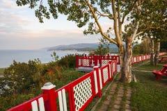 Cap-de-la-Madeleine lookout landscape with fence Stock Images