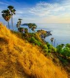 Cap de Phromthep au coucher du soleil Phuket, Thaïlande Photos stock
