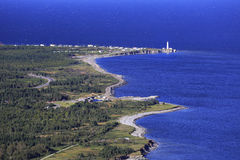 Cap des Rosiers Lighthouse, aerial view, Gaspesie, Quebec. Canada Royalty Free Stock Photo