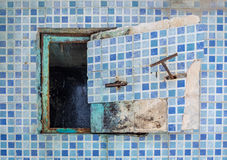 Cap drain decay industry. In pool area Royalty Free Stock Photo