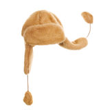 Cap with ear flaps. On the white background Stock Image