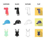Cap, earrings, necklace, swimsuit. Clothing set collection icons in cartoon,black,outline,flat style vector symbol stock. Illustration Royalty Free Stock Photography