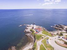 Cap Elizabeth, Maine Lighthouse - océan Photos libres de droits