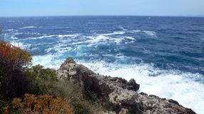 Cap Ferrat coast. Cap ferrat on a windy day sae coast waves and rocks Stock Photo