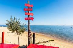 Cap Ferret Arcachon fjärd, Frankrike Dekorativt tecken på stranden arkivbilder