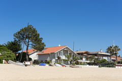 Cap Ferret, France, houses on the beach. Houses on the main beach of the Cap Ferret in the Arcachon Bay Stock Images
