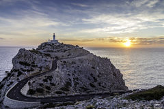 Cap Formentor lighthouse. Sunrise at Cap Formentor lighthouse in the far north of Mallorca Royalty Free Stock Photography