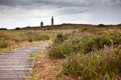 Cap Frehel with Lighthouse Stock Photography