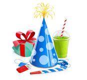 Cap, gift, smoothie, cinema ticket, whistle for celebration birthday Stock Images
