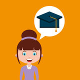 Cap graduation education online design girl Royalty Free Stock Photography