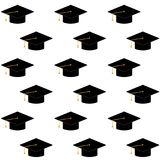 Cap or hat for ceremony university graduation seamless pattern. Cap or hat for ceremony university graduation, finish education for student. Vector illustration Stock Photo