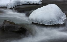 Cap of ice in frosted stream. Nature winter background Stock Photo