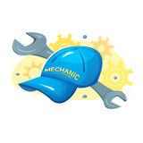 Cap of mechanic and wrench vector illustration Stock Image