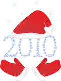 Cap and mittens of Santa Royalty Free Stock Photos