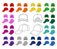Cap outlined template. Cap vector illustration featured front, back, side, top isolated on white. You can change the color or you can add your logo easily Stock Images