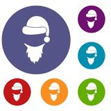 Cap with pompon of Santa Claus and beard icons set Stock Photography