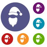 Cap with pompon of Santa Claus and beard icons set Stock Image
