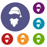 Cap with pompon of Santa Claus and beard icons set Stock Photo