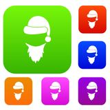 Cap with pompon of Santa Claus and beard set collection. Cap with pompon of Santa Claus and beard set icon in different colors isolated vector illustration Royalty Free Stock Photo