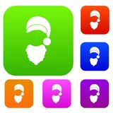 Cap with pompon of Santa Claus and beard set collection. Cap with pompon of Santa Claus and beard set icon in different colors isolated vector illustration Stock Images