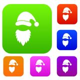 Cap with pompon of Santa Claus and beard set collection. Cap with pompon of Santa Claus and beard set icon in different colors isolated vector illustration Stock Photography