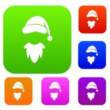 Cap with pompon of Santa Claus and beard set collection. Cap with pompon of Santa Claus and beard set icon in different colors isolated vector illustration Royalty Free Stock Photography