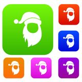Cap with pompon of Santa Claus and beard set collection. Cap with pompon of Santa Claus and beard set icon in different colors isolated vector illustration Stock Image