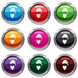Cap with pompon of Santa Claus and beard set 9 collection. Cap with pompon of Santa Claus and beard set icon isolated on white. 9 icon collection vector Stock Image