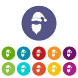 Cap with pompon of Santa Claus and beard set icons Stock Images