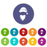 Cap with pompon of Santa Claus and beard set icons Royalty Free Stock Images