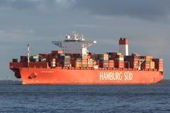 CAP SAN NICOLAS. Container ship CAP SAN NICOLAS on the river Elbe. German Hamburg Sud is part of the Danish A.P. Moller–Maersk Group since 1 December 2017 Stock Photos