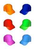 Cap set. Multicolored caps  illustration isolated on white. EPS8 file available Royalty Free Stock Images