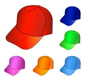 Cap set. Multicolored caps  illustration isolated on white. EPS8 file available Royalty Free Stock Photos