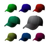 Cap set. Vector sport cap on white Royalty Free Stock Images