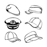 Cap set isolated on white  black art Royalty Free Stock Photo