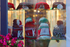 Cap shop in the city center. Russia Kazan 20.02.2017: a hat shop in the city center Stock Photos