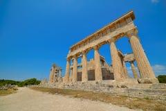 Cap Sounion Le site des ruines d'un temple du grec ancien de Poseidon, le dieu de la mer en mythologie classique Image libre de droits