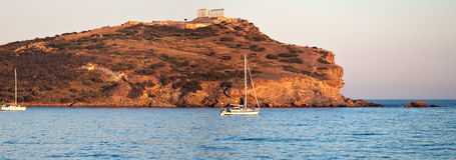 Cap Sounion, le temple de Poseidon, Attique, Grèce Photos stock