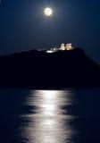 Cap Sounion, le temple de Poseidon, Attique, Grèce, clair de lune Photo stock