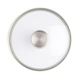 Cap of stainless steel cooking pot pan isolated over white background Stock Images