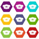 Cap taxi driver icon set color hexahedron Stock Photos