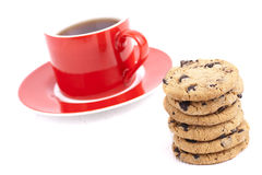 Cap of tea and cookies isolated. Cap of tea and cookies on a white background Royalty Free Stock Photos