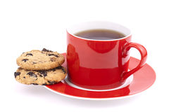 Cap of tea and cookies isolated. Cap of tea and cookies on a white background Stock Photos