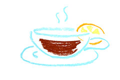 Cap of tea with lemon abstract icon Stock Image