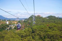 `Cap Treo Dalat` cable car on a sunny day. Vietnam. DA LAT, VIETNAM - DECEMBER 28, 2015: `Cap Treo Dalat` cable car on a sunny day Royalty Free Stock Photography